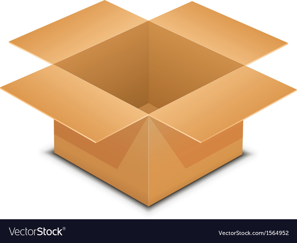 Open cardboard box on white vector | Price: 1 Credit (USD $1)