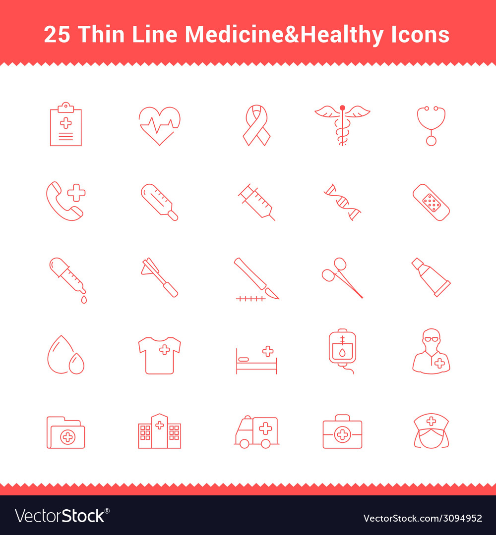 Set of thin line stroke medical icon vector | Price: 1 Credit (USD $1)