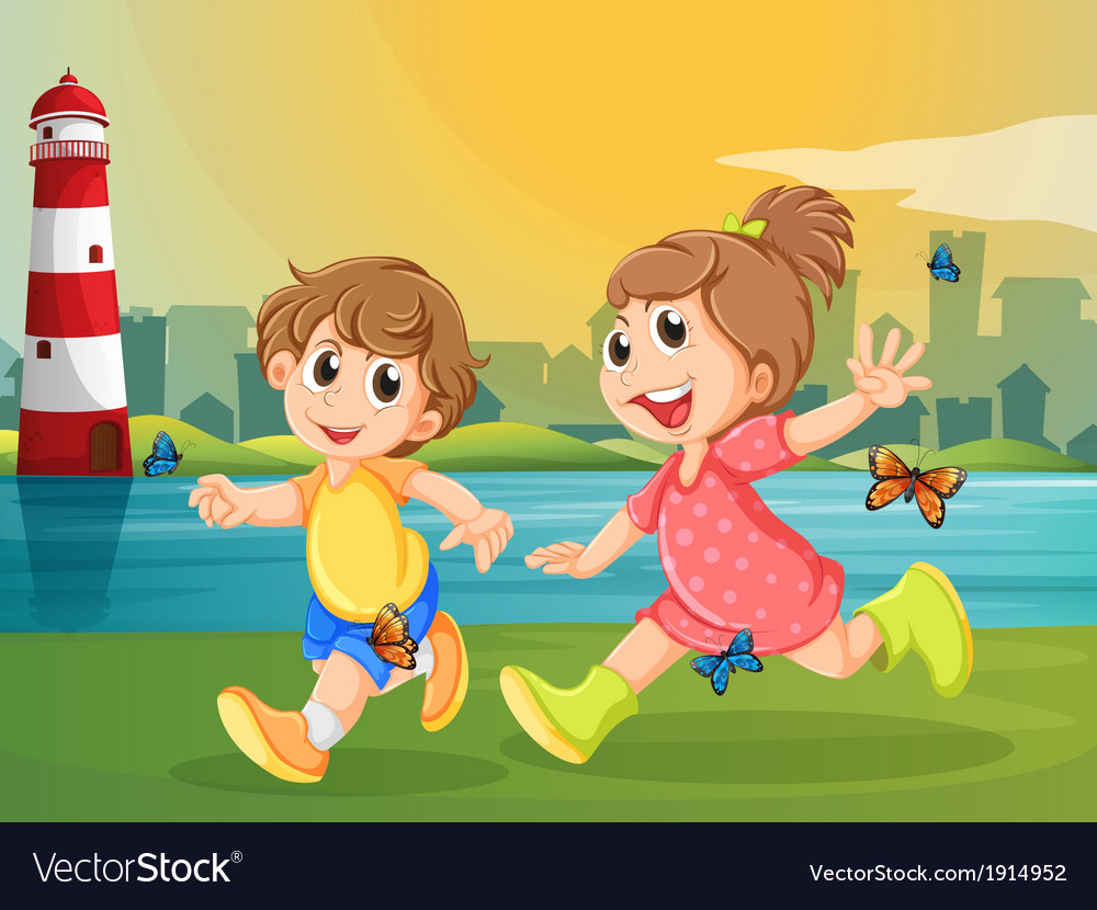Two adorable kids running with butterflies vector | Price: 3 Credit (USD $3)