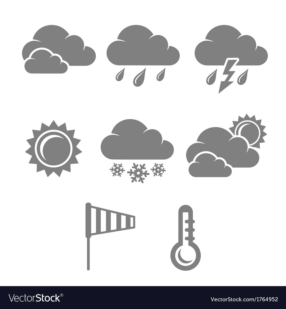 Weather symbols set contrast flat vector | Price: 1 Credit (USD $1)