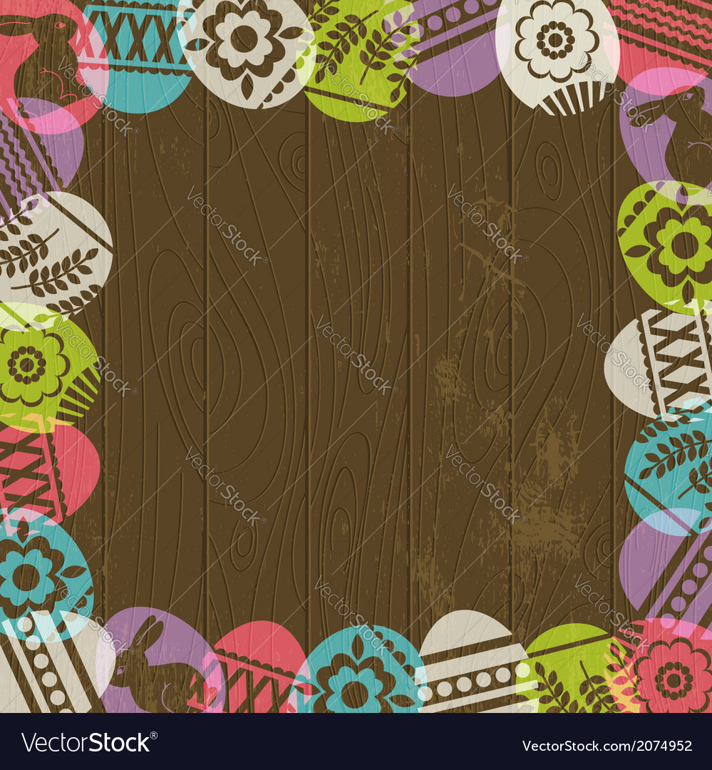 Wooden background with frame of easter eggs vector | Price: 1 Credit (USD $1)