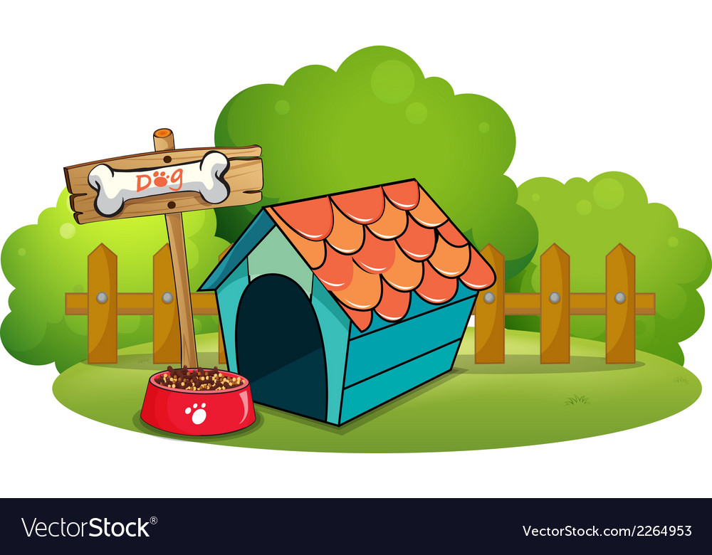 A pethouse near the fence vector | Price: 1 Credit (USD $1)