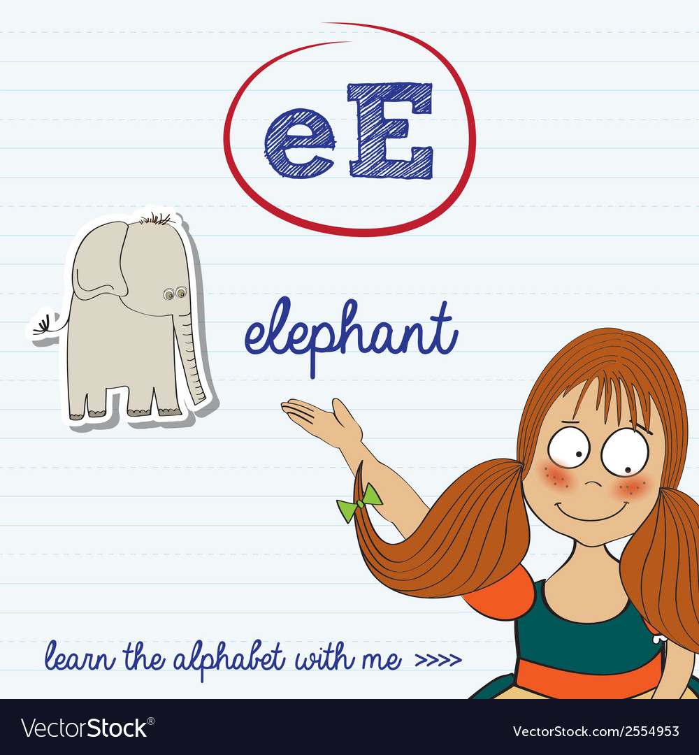 Alphabet worksheet of the letter e vector | Price: 1 Credit (USD $1)