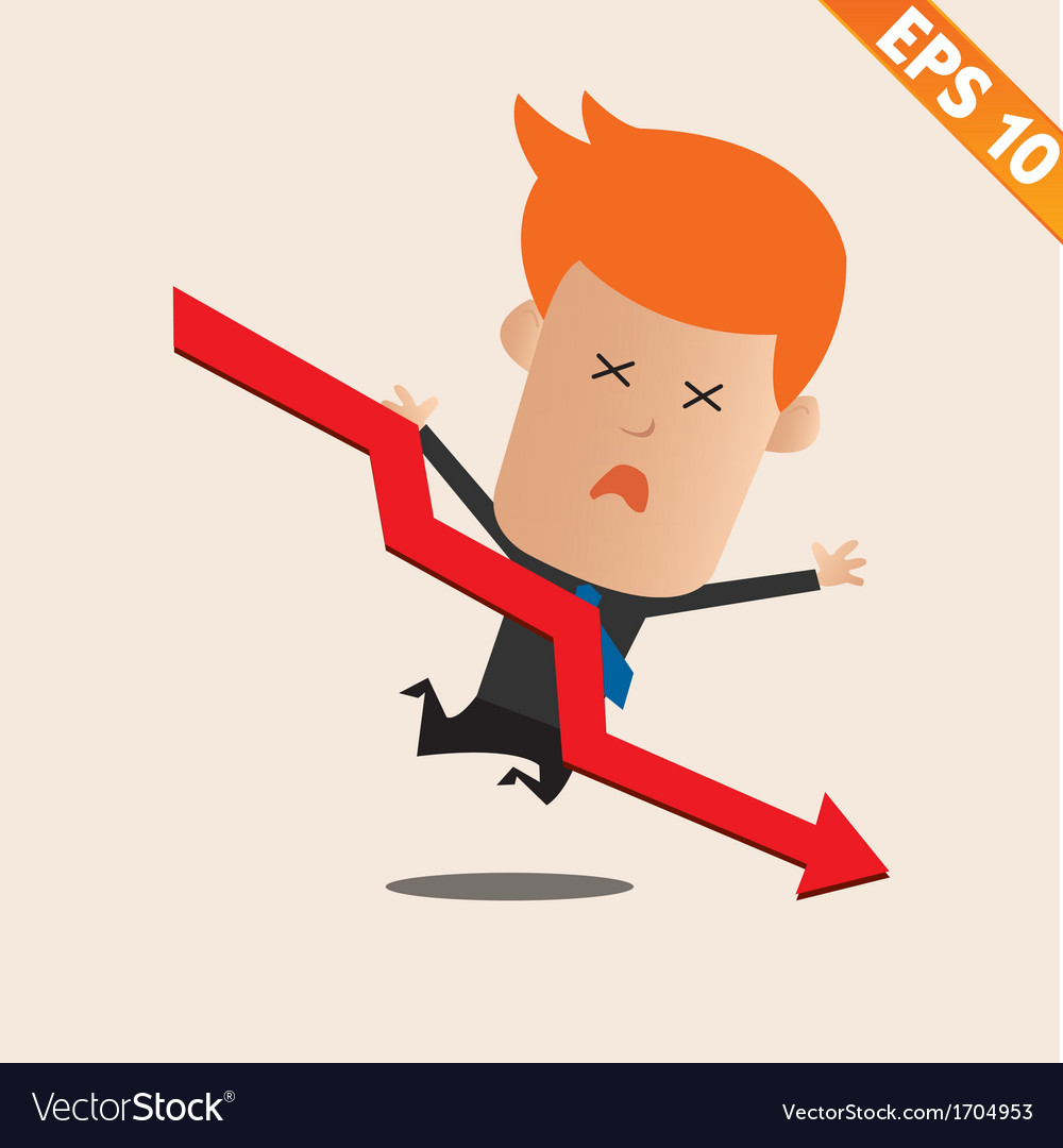 Cartoon businessman negative graph - - eps10 vector | Price: 1 Credit (USD $1)