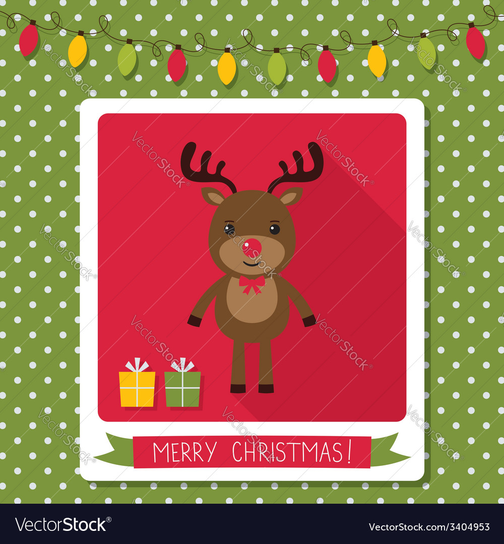 Christmas card with a cute deer vector | Price: 1 Credit (USD $1)
