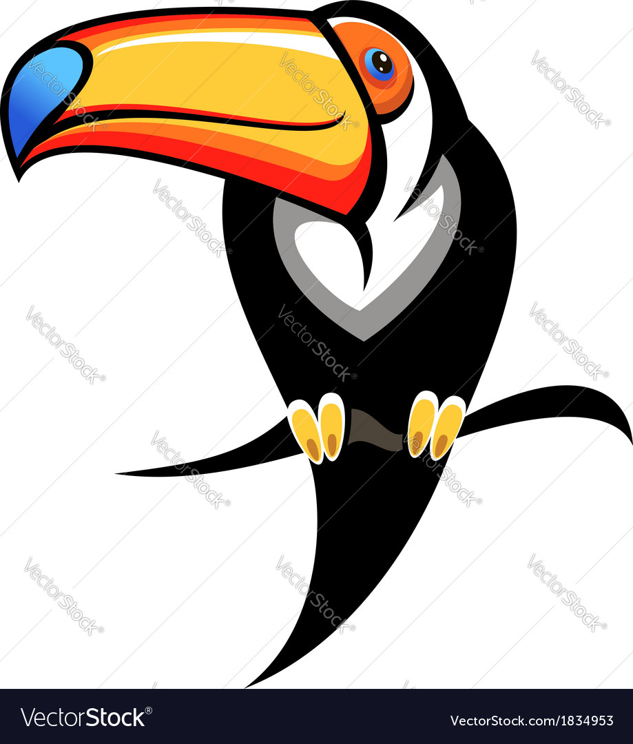 Colourful toucan on a branch vector | Price: 1 Credit (USD $1)