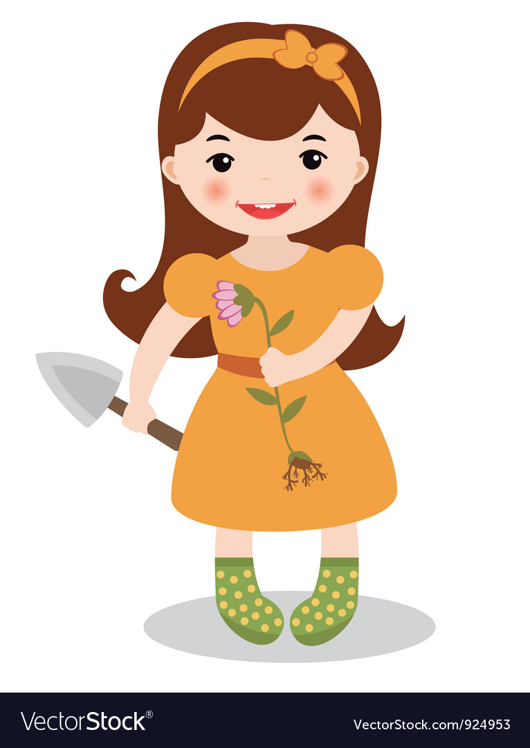 Gardening girl vector | Price: 1 Credit (USD $1)