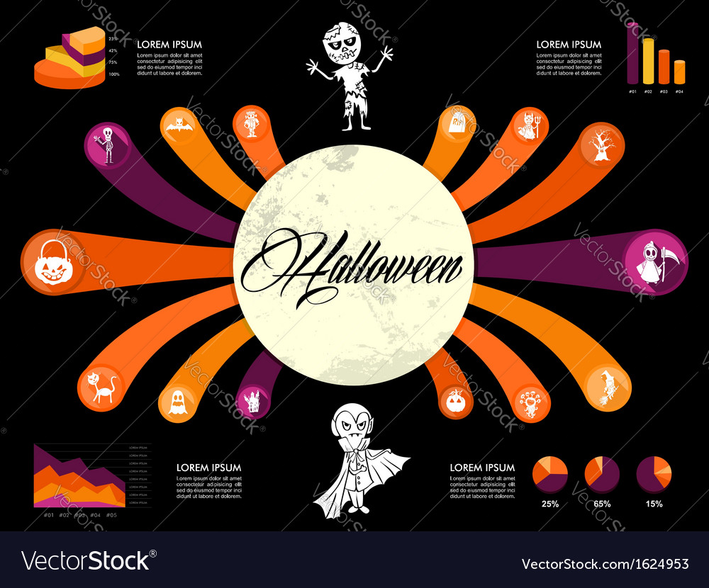 Halloween infographics diagram spooky icons vector | Price: 1 Credit (USD $1)