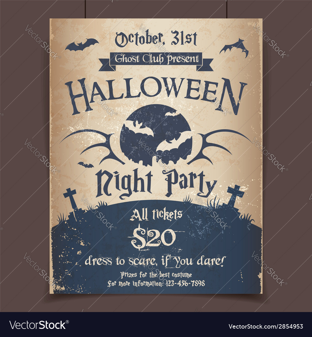 Halloween night party poster vector | Price: 1 Credit (USD $1)