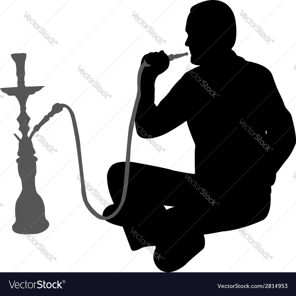 Man smoking nargila vector | Price: 1 Credit (USD $1)