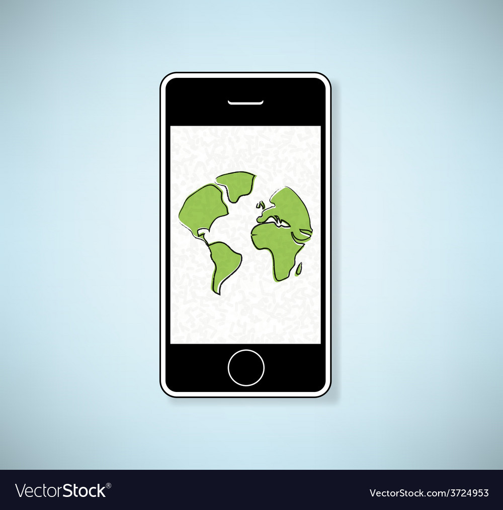 Phone show world background vector | Price: 1 Credit (USD $1)