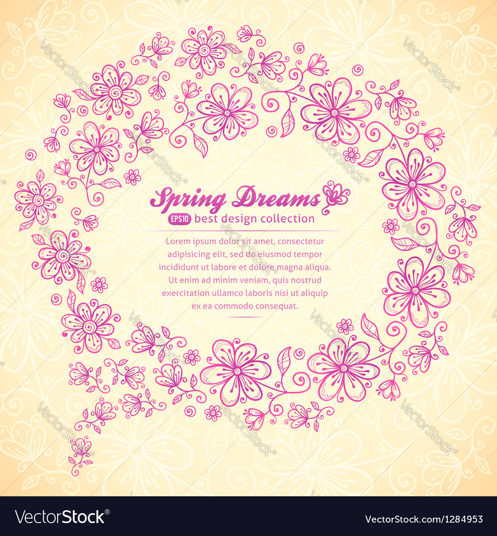 Pink doodle vintage flowers speech bubble vector | Price: 1 Credit (USD $1)