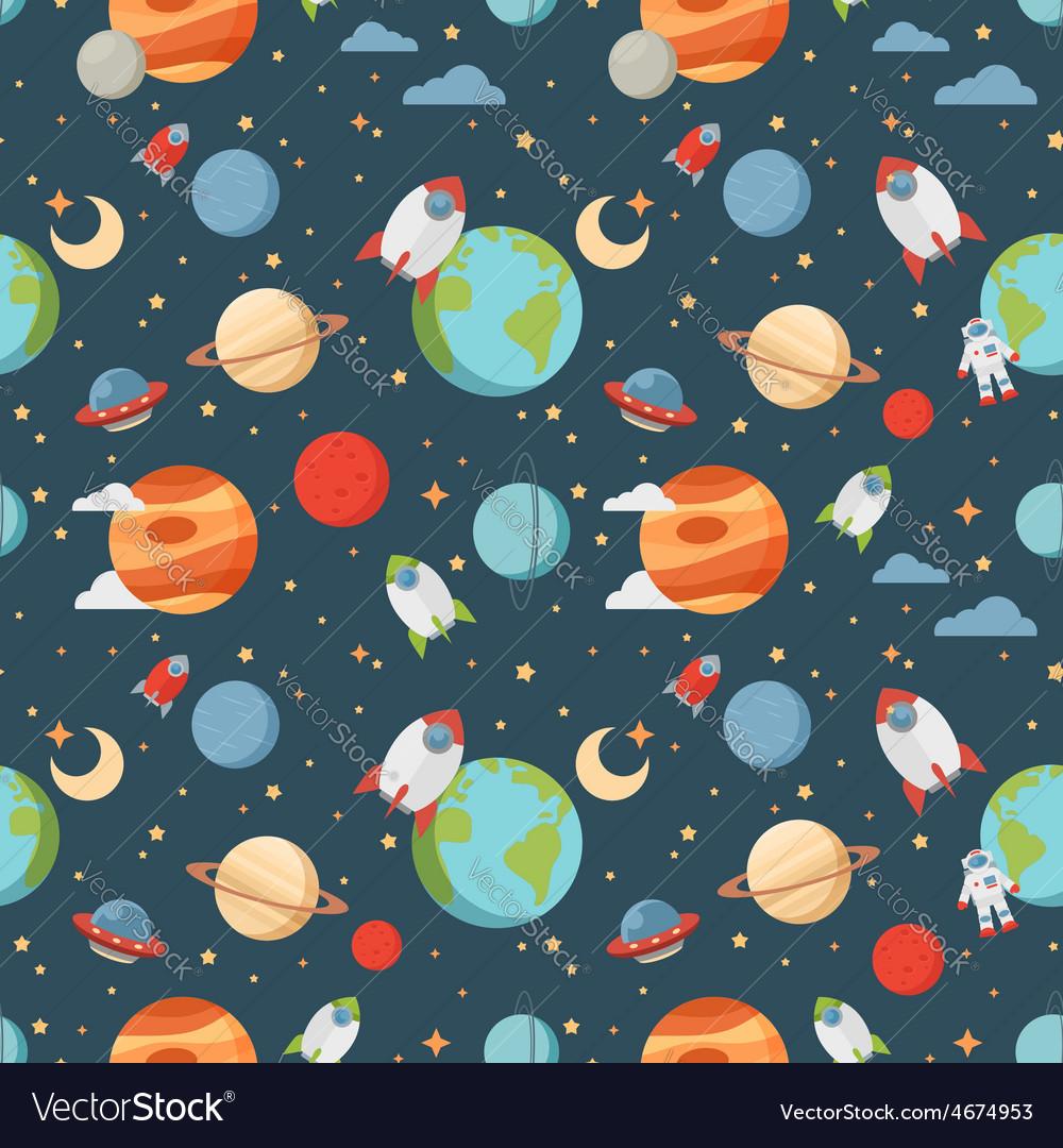 Seamless children cartoon space pattern vector | Price: 1 Credit (USD $1)