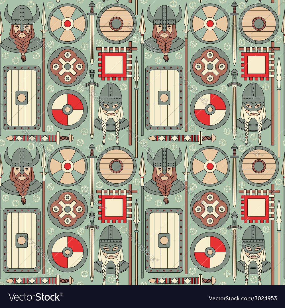 Seamless viking pattern 02 vector