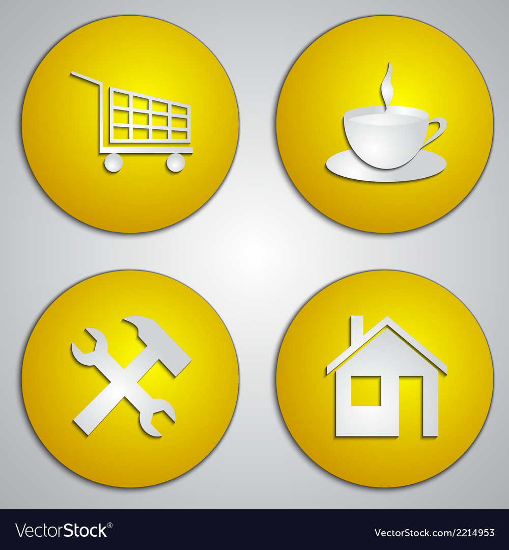 Set of round yellow site icons with paper cut vector | Price: 1 Credit (USD $1)