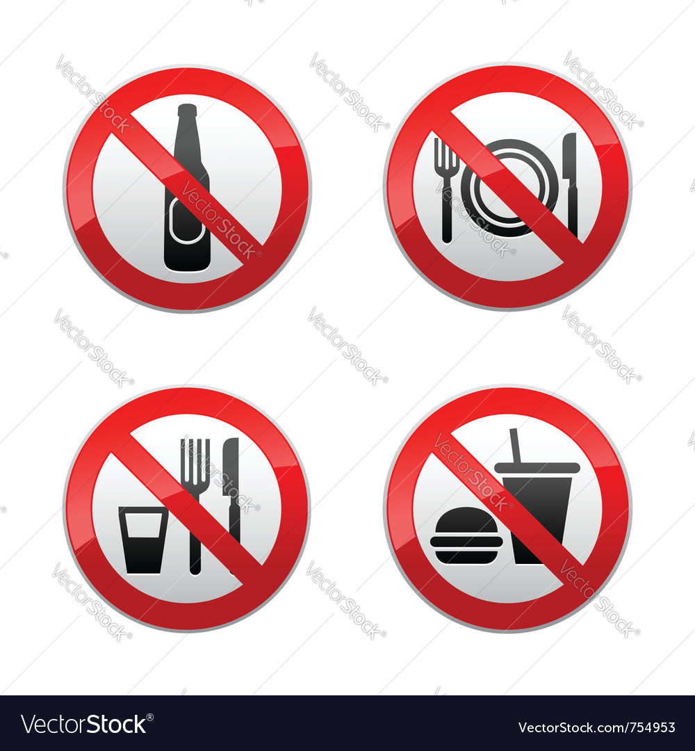Set prohibited signs - cafe vector | Price: 1 Credit (USD $1)