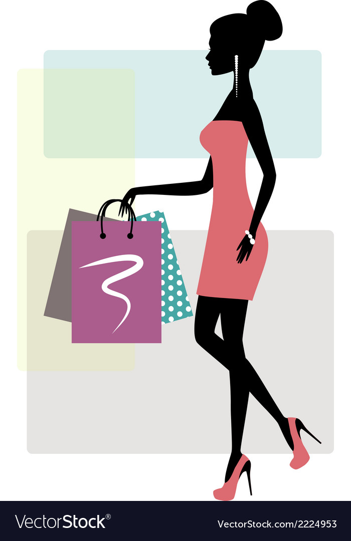 Silhouette of a fashionable shopping woman vector | Price: 1 Credit (USD $1)