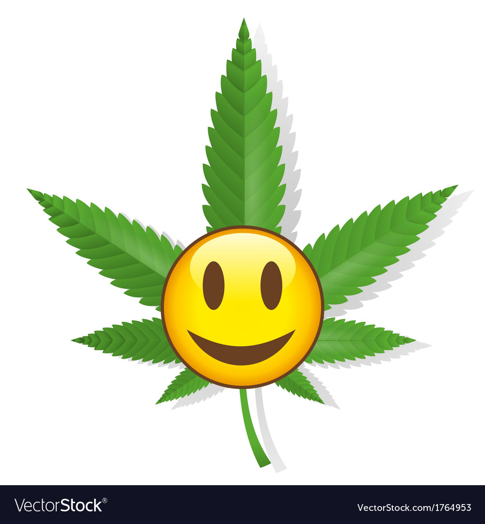 Smiling cannabis sign vector | Price: 1 Credit (USD $1)