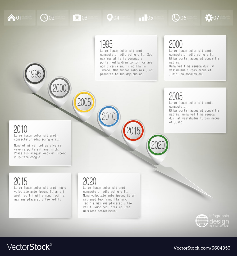 Timeline with pointer marks infographic for vector | Price: 1 Credit (USD $1)