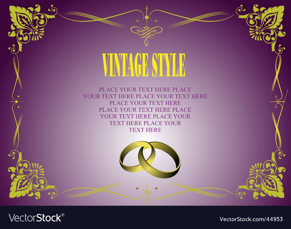 Vintage style invitation card vector | Price: 1 Credit (USD $1)