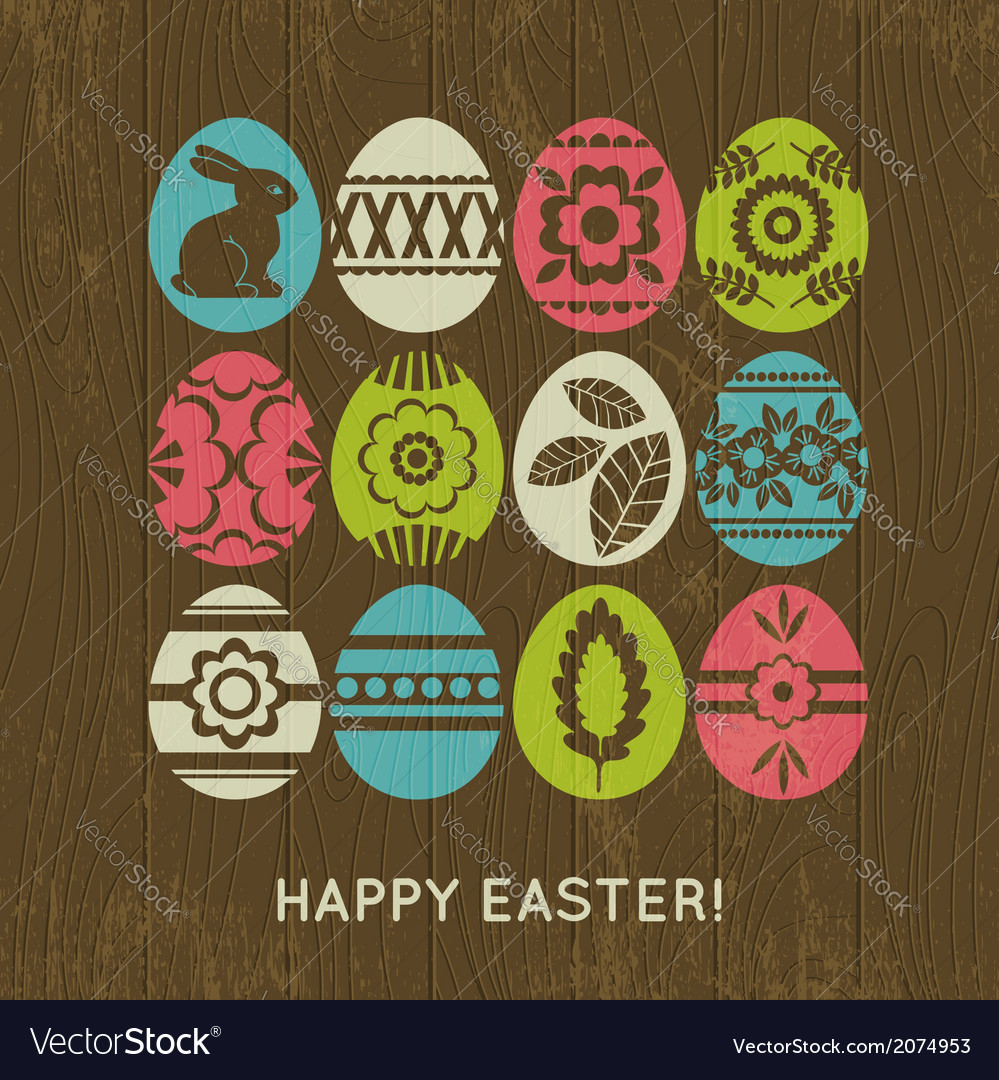 Wooden background with color easter eggs vector | Price: 1 Credit (USD $1)