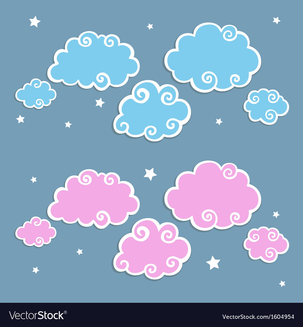 Blue clouds with white border vector | Price: 1 Credit (USD $1)