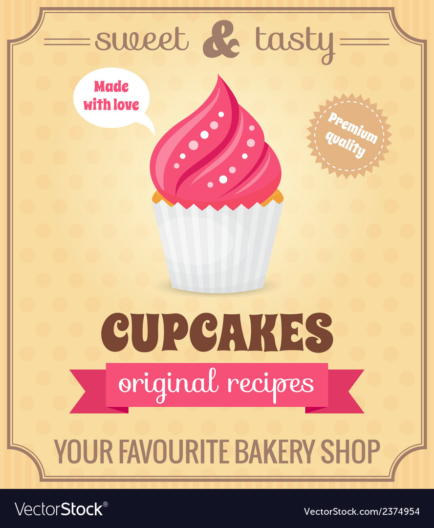 Cupcake retro poster vector | Price: 1 Credit (USD $1)