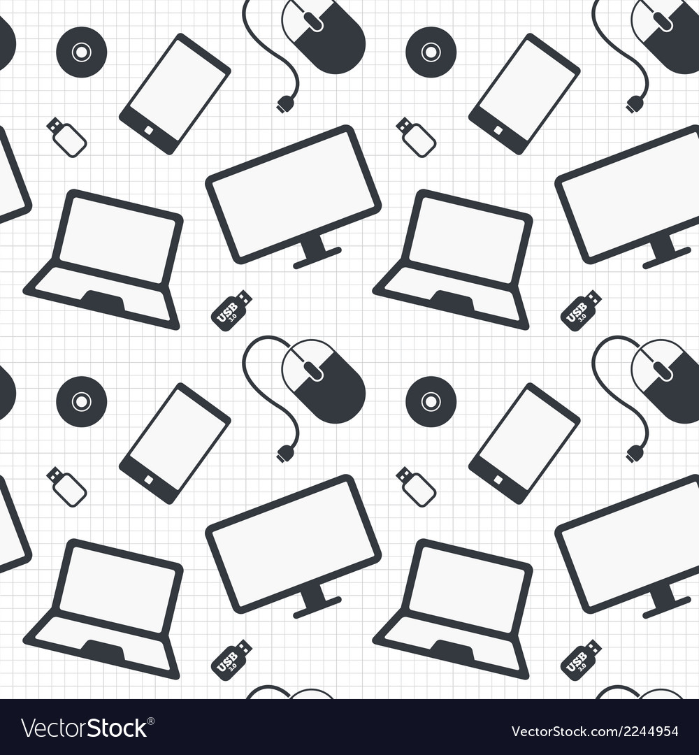 Devices seamless pattern notebook smartphone vector | Price: 1 Credit (USD $1)