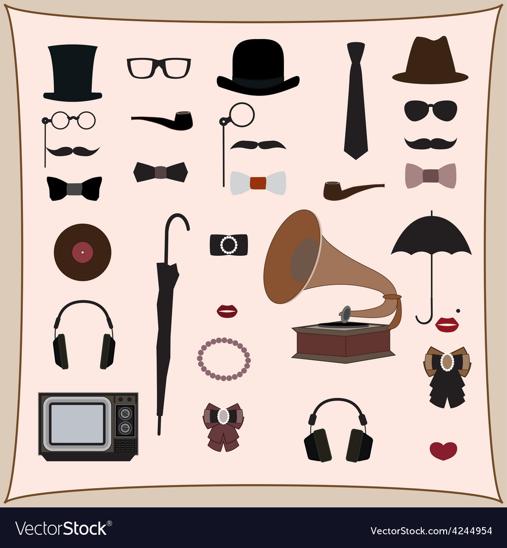 Hipster retro style set vector | Price: 1 Credit (USD $1)