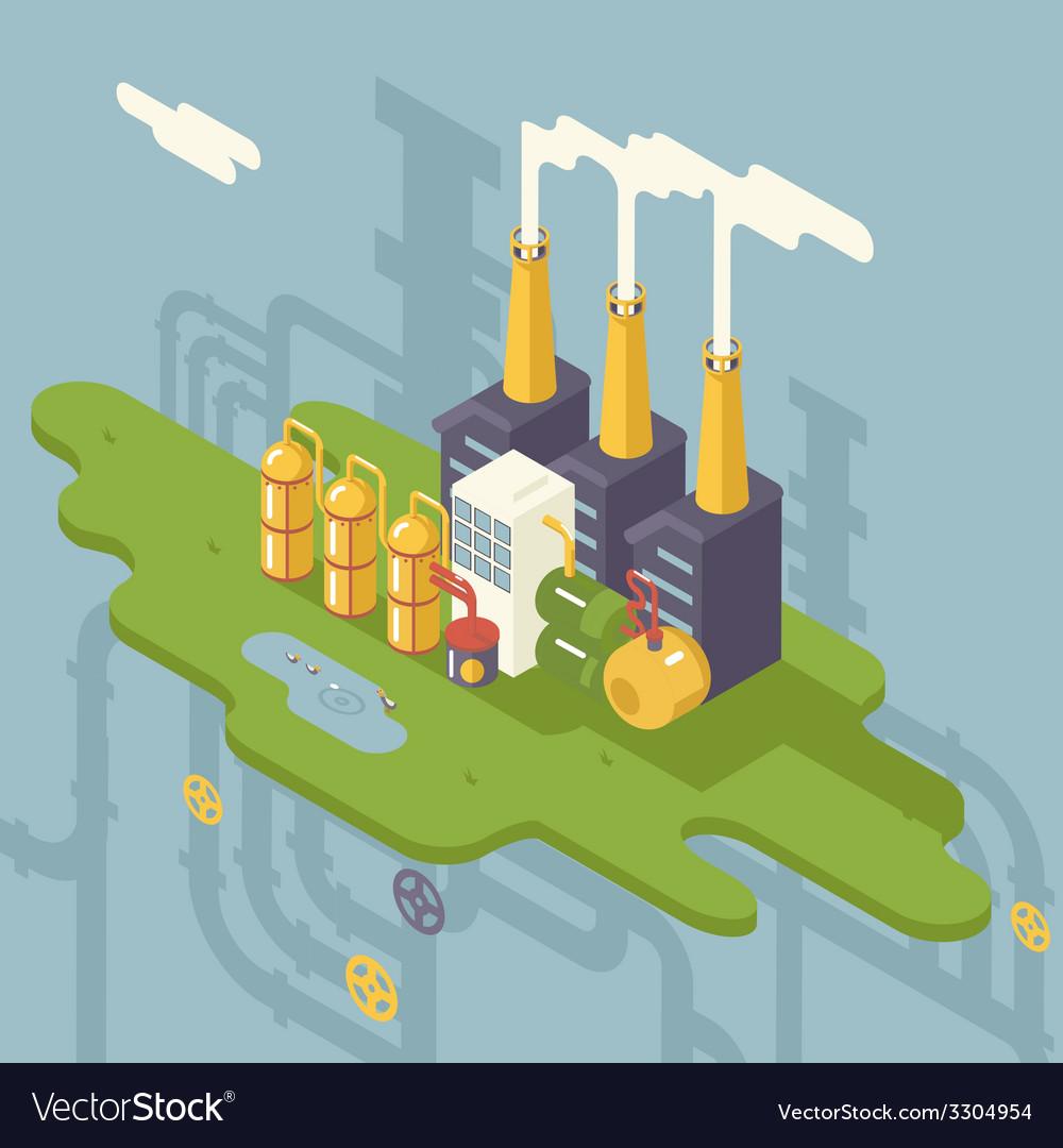 Isometric retro flat factory refinery plant vector | Price: 3 Credit (USD $3)