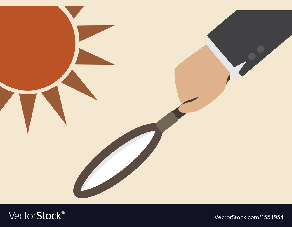 Magnifying lens with sun light create fire vector | Price: 1 Credit (USD $1)