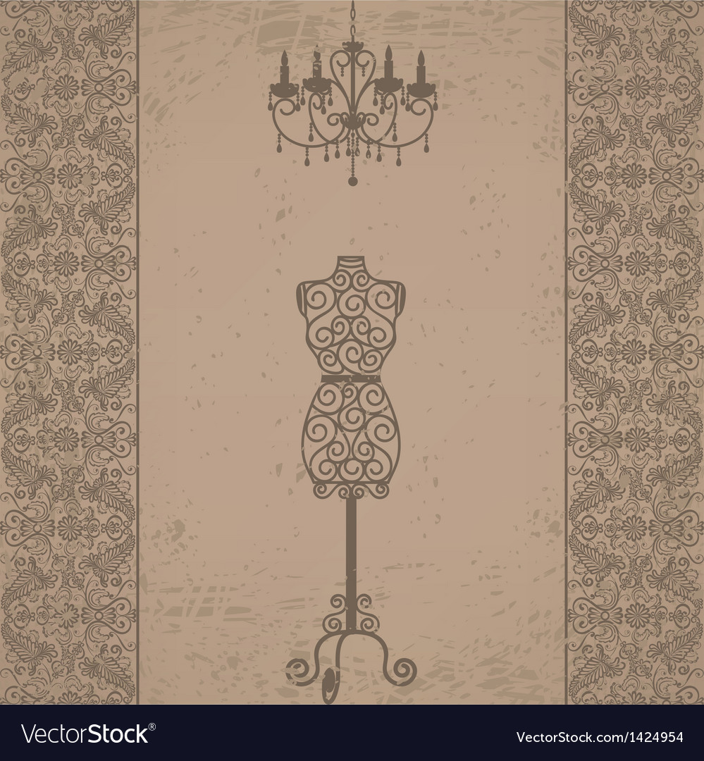 Mannequin and chandelier with lace border vector | Price: 1 Credit (USD $1)