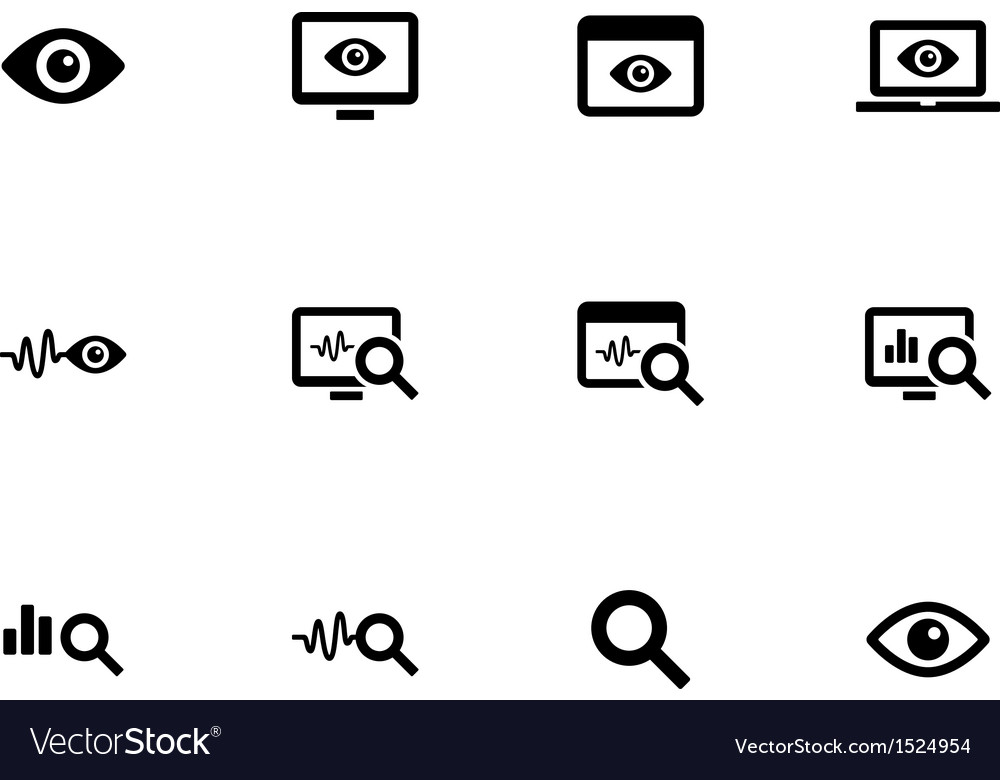 Monitoring icons on white background vector | Price: 1 Credit (USD $1)