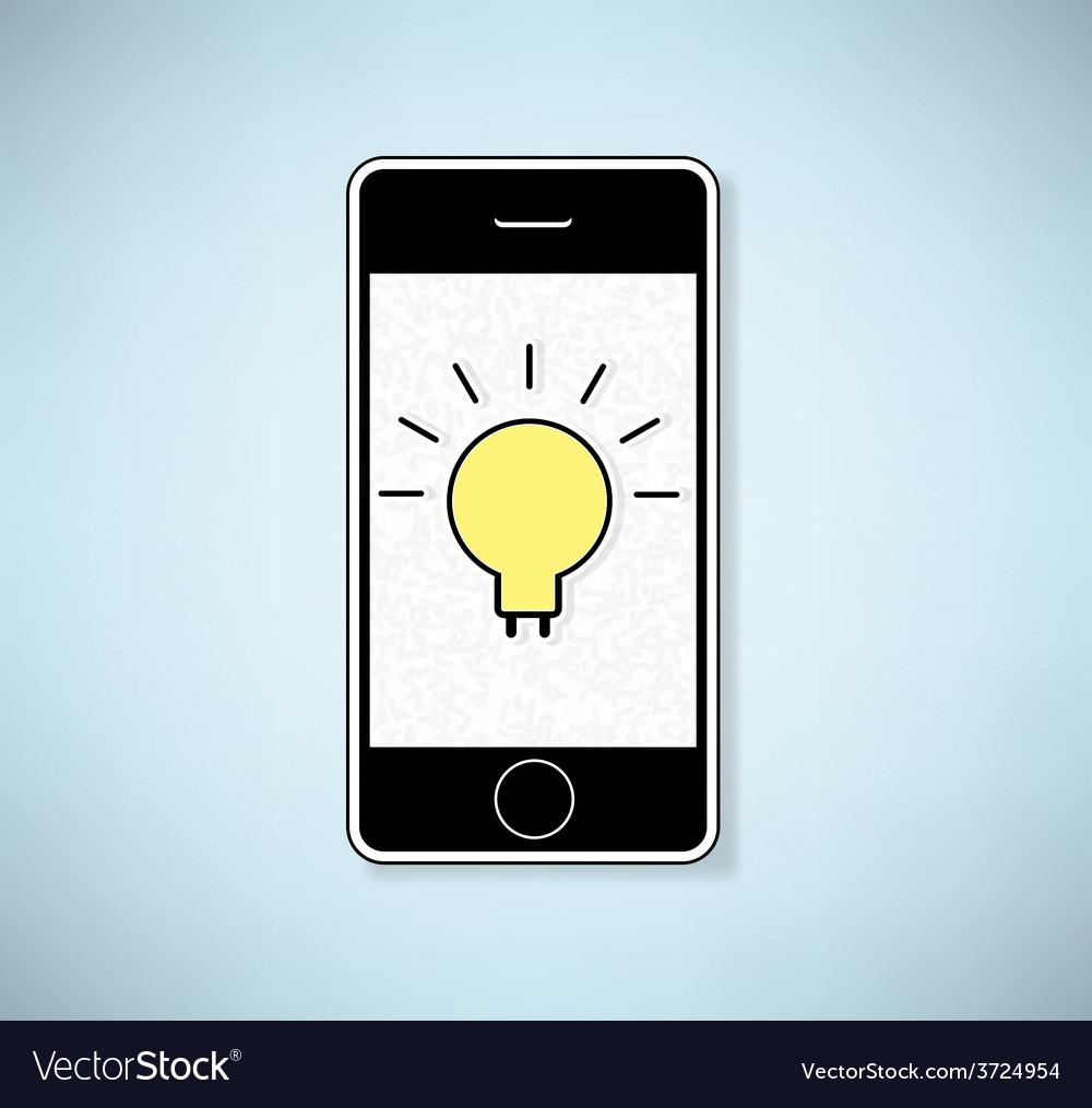 Phone show light bulb idea background vector | Price: 1 Credit (USD $1)