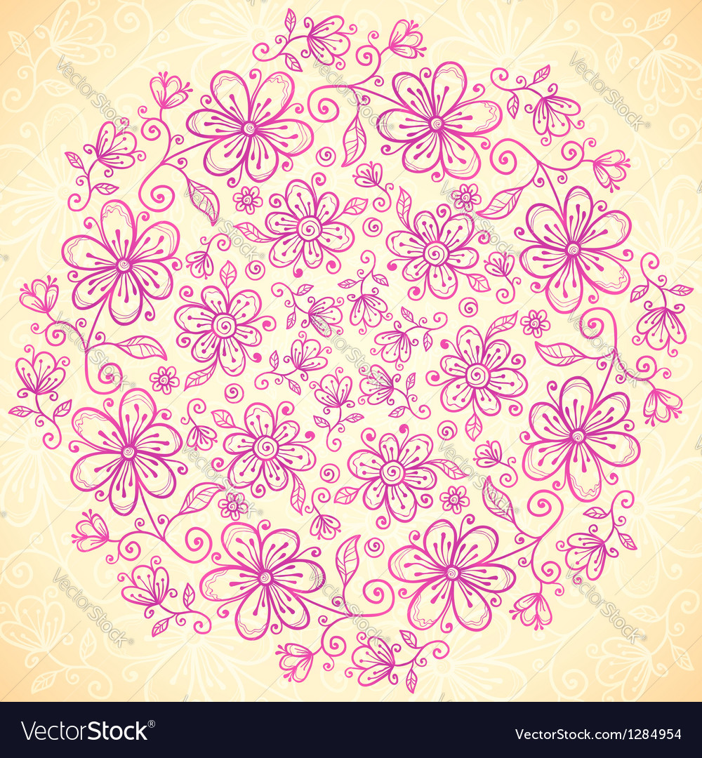 Pink doodle vintage flowers circle background vector | Price: 1 Credit (USD $1)