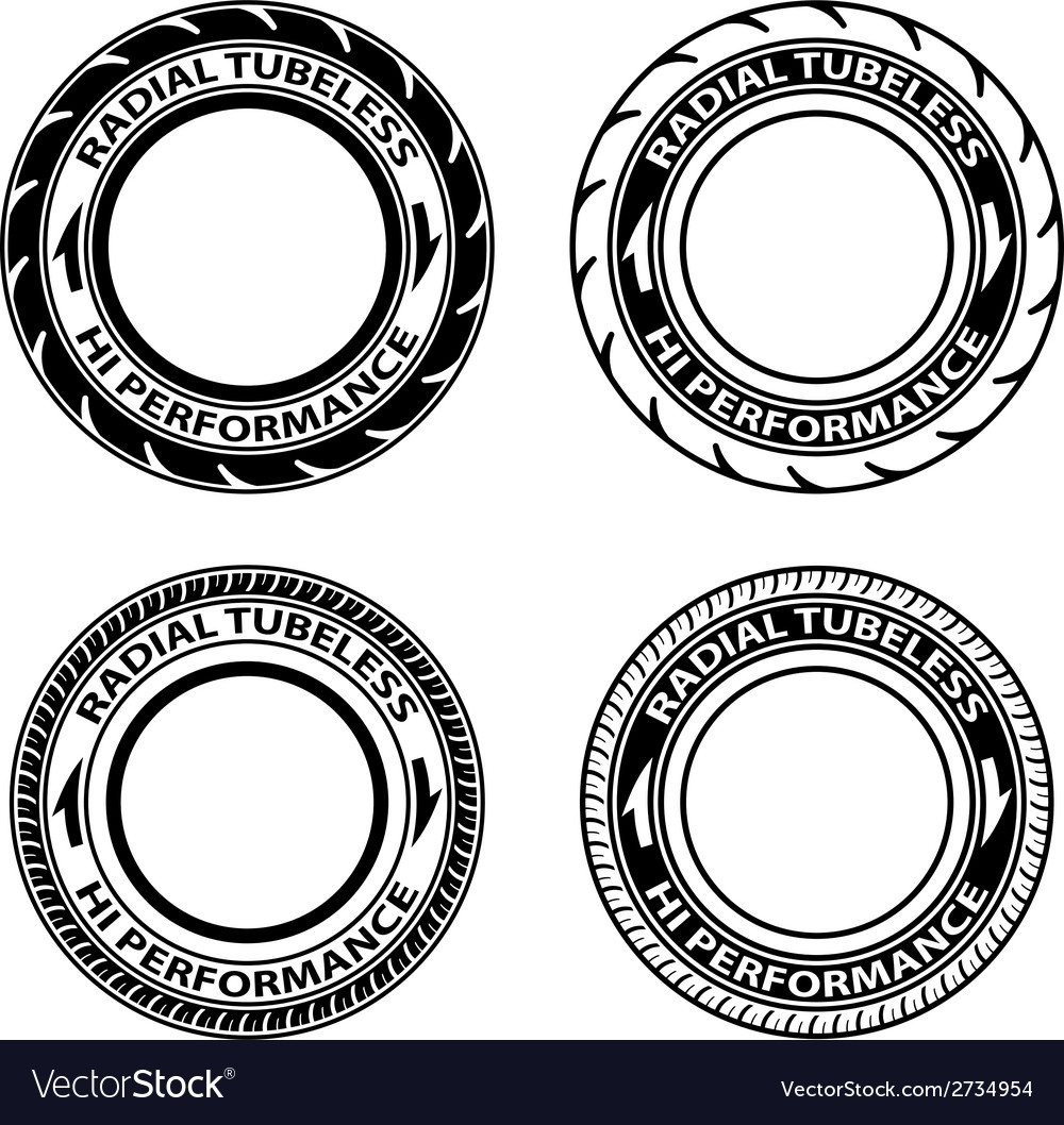 Radial tubeless tyre symbols vector | Price: 1 Credit (USD $1)