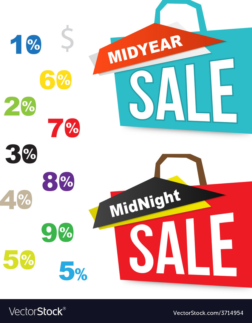 Sale bag icons with number percent for midnight vector | Price: 1 Credit (USD $1)