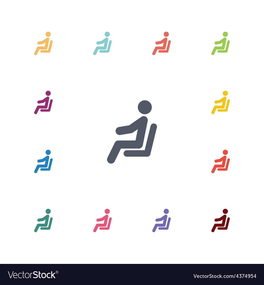 Seating man flat icons set vector | Price: 1 Credit (USD $1)