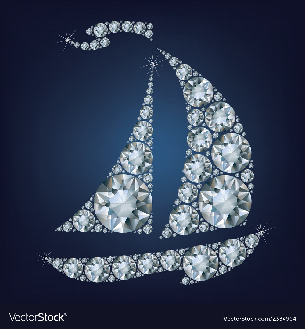 Ship made up a lot of diamonds vector | Price: 1 Credit (USD $1)