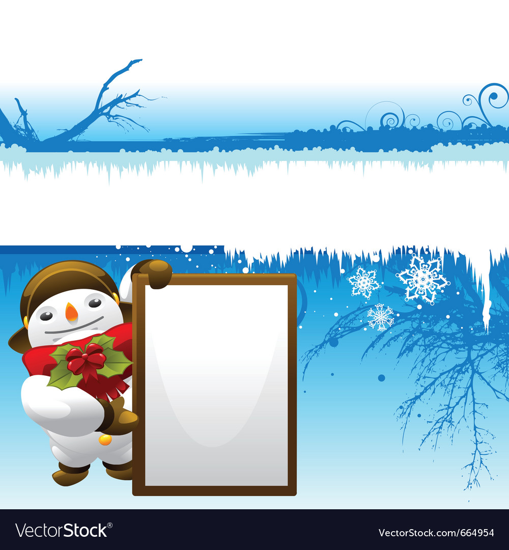 Snowman with message board vector | Price: 3 Credit (USD $3)