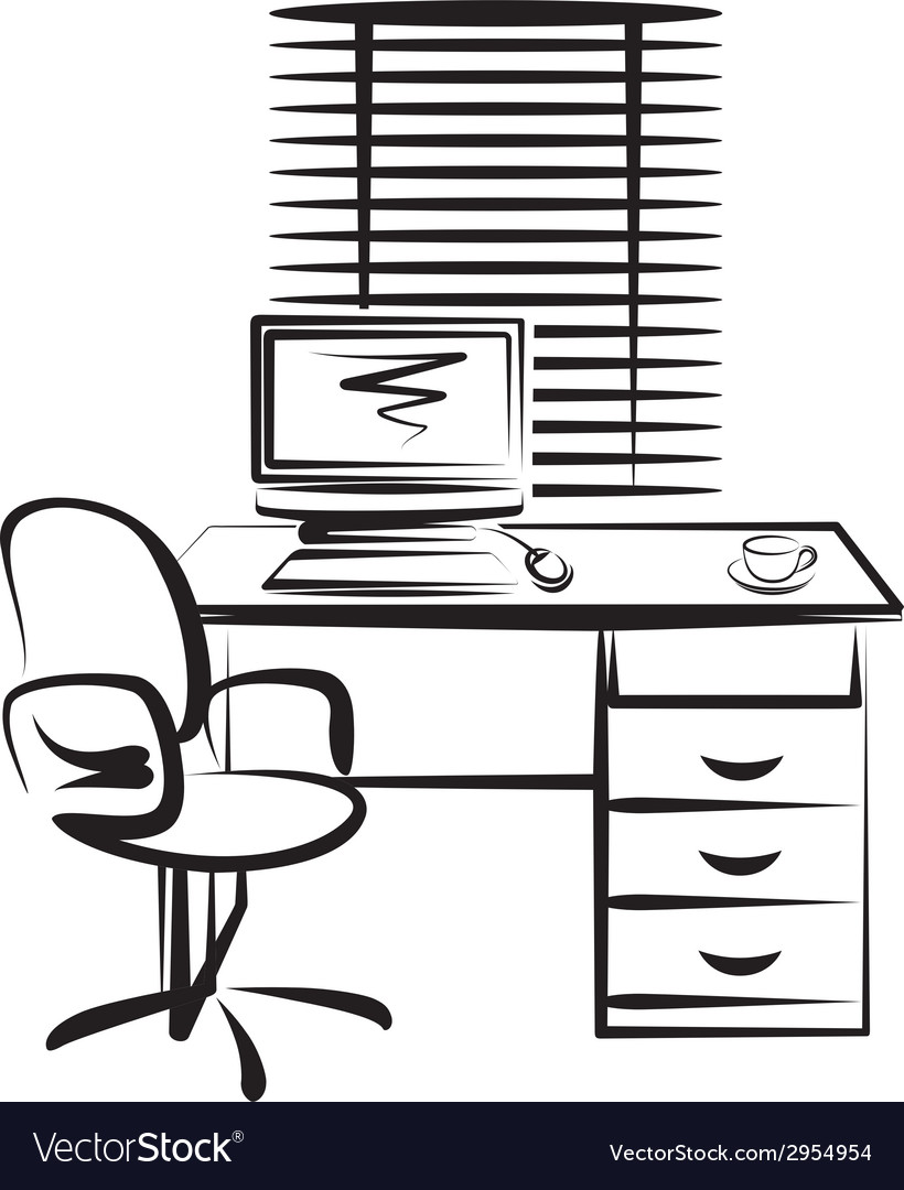 With office work place vector | Price: 1 Credit (USD $1)