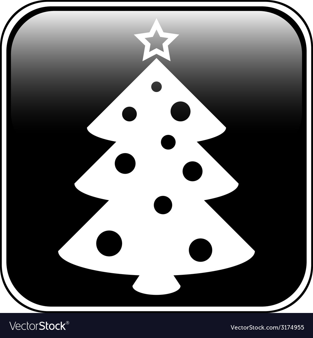 Christmas tree symbol button vector | Price: 1 Credit (USD $1)