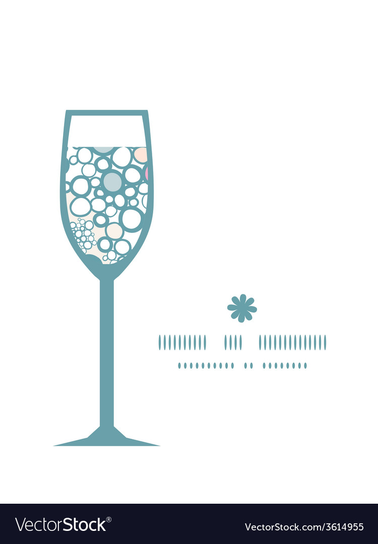 Colorful bubbles wine glass silhouette pattern vector | Price: 1 Credit (USD $1)