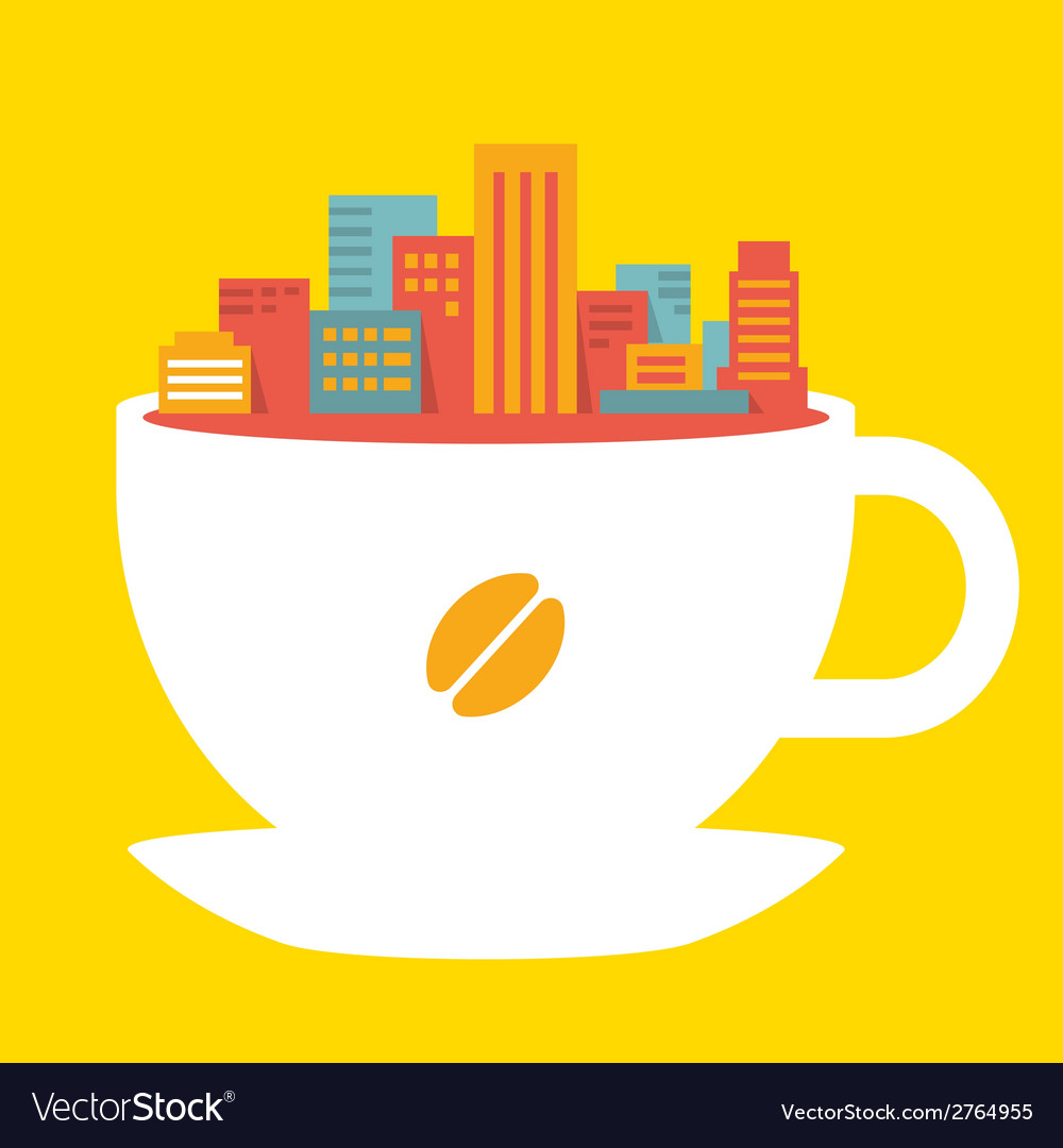 Flat style modern city in cup of coffee vector | Price: 1 Credit (USD $1)