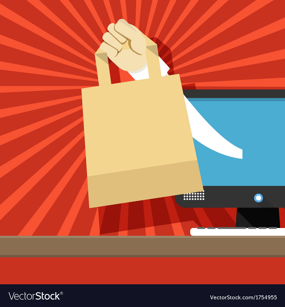 Hand with shopping bag vector | Price: 1 Credit (USD $1)