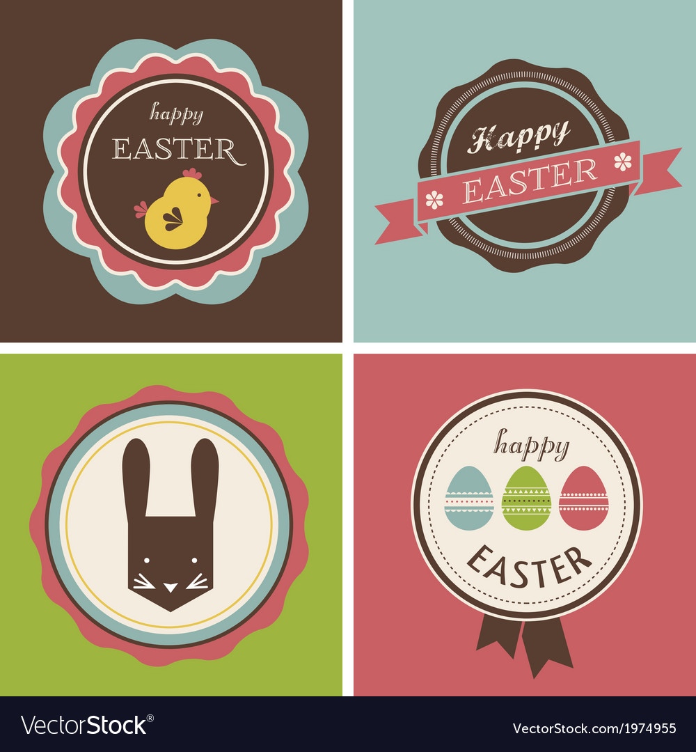 Happy hipster easter - set of icons and elements vector | Price: 1 Credit (USD $1)