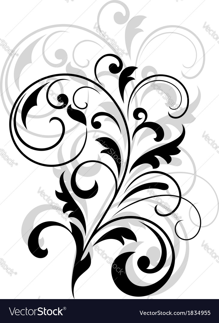 Scrolling calligraphic floral design vector | Price: 1 Credit (USD $1)