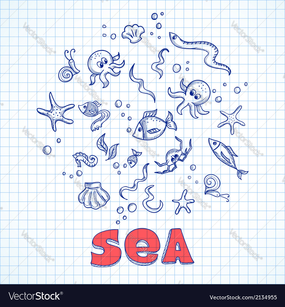 Sea life elements vector | Price: 1 Credit (USD $1)