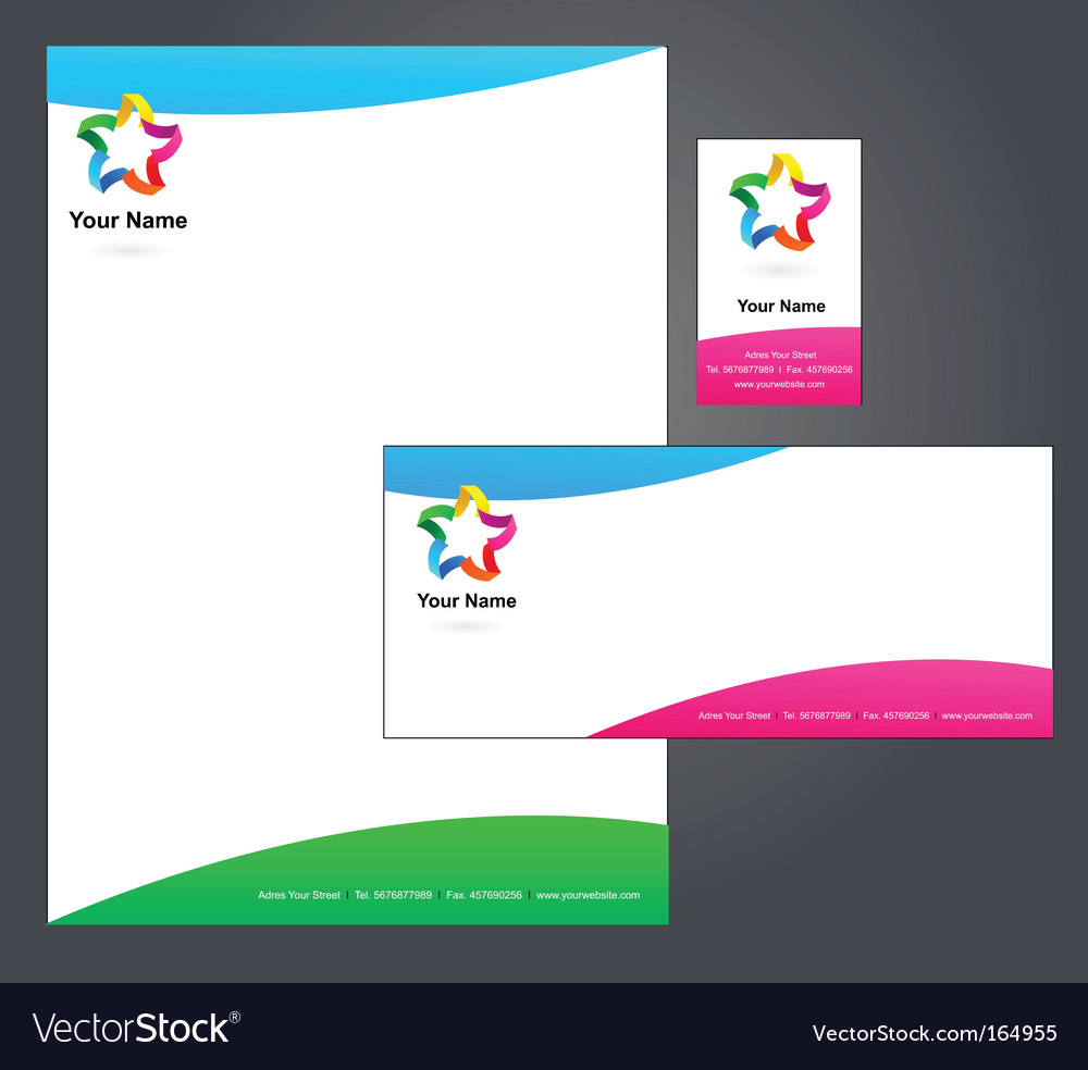 Stationery template with star logo vector | Price: 1 Credit (USD $1)