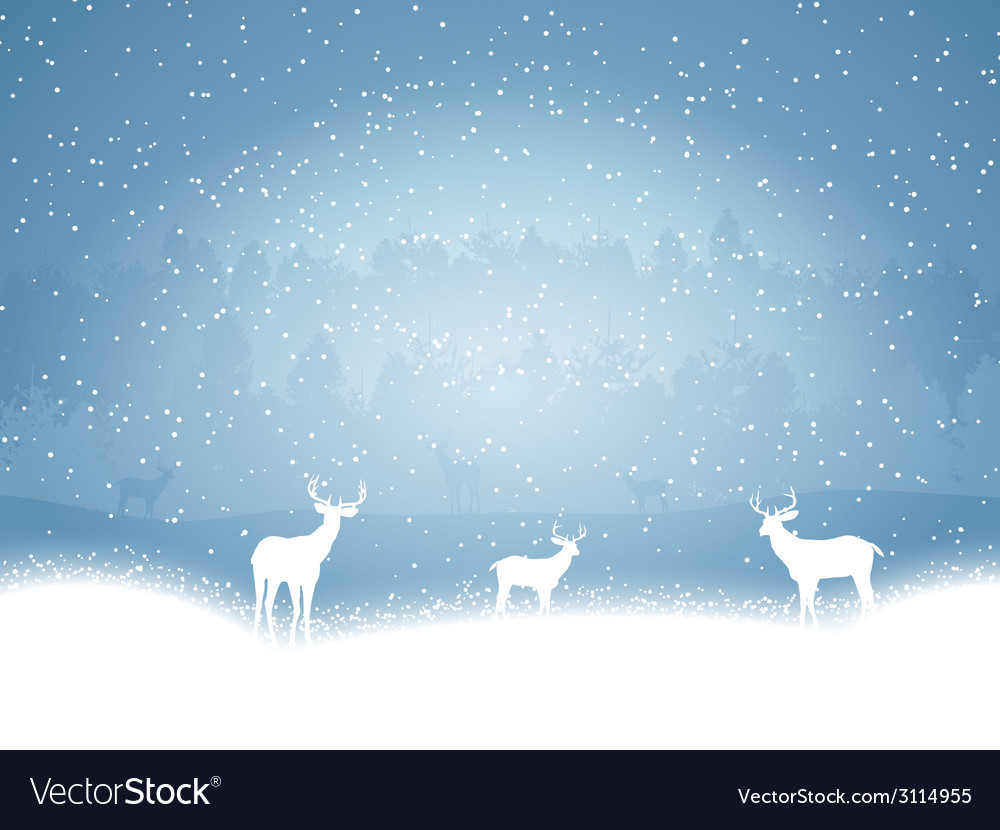 Winter landscape with deer vector | Price: 1 Credit (USD $1)